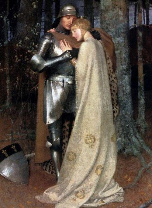 Aucassin y Nicolette, del siglo 19 óleo sobre lienzo por Marianne Stokes